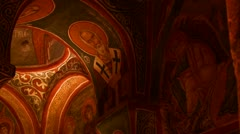 Low angle view of Christian painted ceilings in a cave near Cappadocia, Turkey. - stock footage