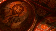 Low angle view of Christian painted ceilings in a cave near Cappadocia, Turkey. Stock Footage