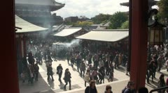 Beautiful temple complex (Sensoji) in Tokyo, Japan Stock Footage
