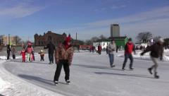 Skating on Halifax Oval Stock Footage