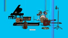 Camera Pan of Musical Instruments with Blue Background Stock Footage