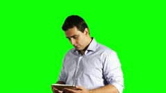 Young Businessman Tablet PC Bad News Greenscreen 720p Stock Footage