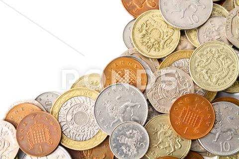Stock photo of Modern British Coins with Copy Space