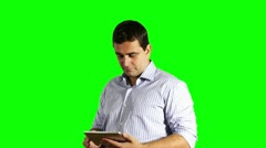 Young Businessman Tablet PC Good News Greenscreen 720p Stock Footage