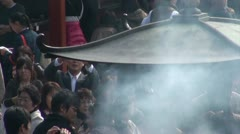 People visit Sensoji temple complex (zoom out) in Tokyo, Japan Stock Footage
