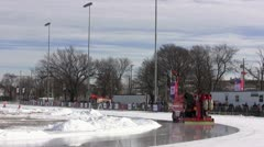 Zamboni Cleans Ice at Halifax Oval Stock Footage