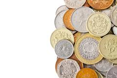 Stock Photo of Pile of Modern British Coins with White Copy Space
