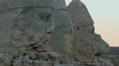 The great archeological ruins on the summit of Mt. Nemrut, Turkey. Stock Footage