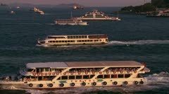 Boats and ferries cross the busy Bosphorus in istanbul, Turkey. - stock footage