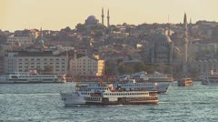 Boats and ferries cross the busy Bosphorus in istanbul, Turkey. Stock Footage
