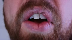 Man's Mouth Eating Stock Footage