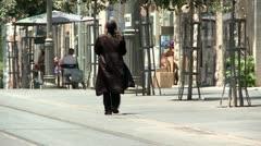 Orthodox Man in Jerusalem 1 Stock Footage