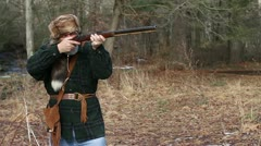 Man with Black Powder Gun firing, Step 6 slow motion Stock Footage