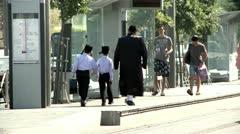 Orthodox People in Jerusalem Stock Footage