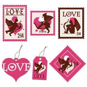 set of valentine's day cupid stamps and tags - stock illustration