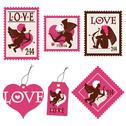 Stock Illustration of set of valentine's day cupid stamps and tags