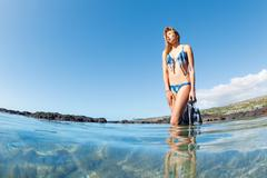 beautiful sexy female snorkeler - stock photo