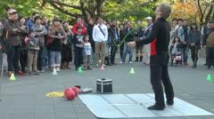 Street performance in Ueno park in Tokyo, Japan Stock Footage