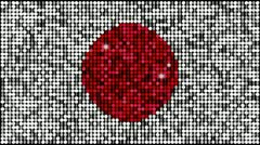 Flag of Japan  - seamless looping with reflectors and sparkles Stock Footage