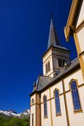 Lofoten cathedral close up Stock Photos