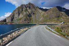 road on lofoten - stock photo