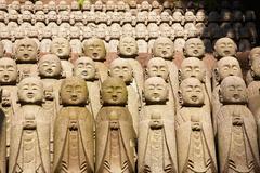 stone monks statues - stock photo
