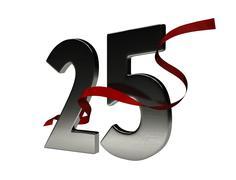 25 year anniversary Ribbon Stock Illustration