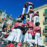 castells, human towers in tarragona, spain - stock photo