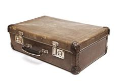 dirty old suitcase - stock photo