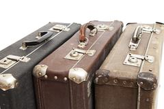 old travelling suitcases - stock photo