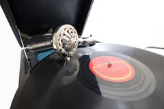vintage gramophone with record - stock photo