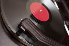 vintage record player close-up - stock photo