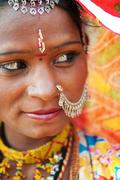 traditional indian woman looking away - stock photo