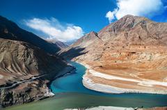 Zanskar and indus rivers Stock Photos