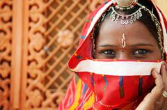 traditional indian woman - stock photo