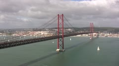 25th April Bridge in Lisbon, Portugal Stock Footage
