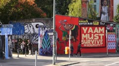 Berlin Footage Berlin Wall, East Side Gallery Stock Footage