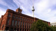 Stock Video Footage of Berlin Footage,  Rotes Rathaus, Alex, Alexanderplatz, Fernsehturm