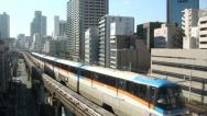 Stock Video Footage of Monorail, elevated, modern, transportation, train, Tokyo, Japan