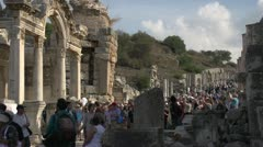 History & culture, Ephesus ruins, great hordes of tourists Stock Footage