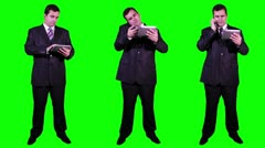 Young Businessman Bundle Greenscreen Stock Footage