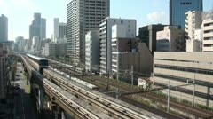 Monorail, commuter trains, urban, Tokyo, railways, Japan Stock Footage