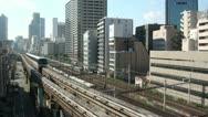 Stock Video Footage of Monorail, commuter trains, urban, Tokyo, railways, Japan