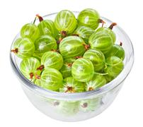 Gooseberry fruits in transparent glass, isolated on white macro Stock Photos
