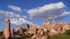 Time lapse over strange towering dwellings and rock formations at Cappadocia, Stock Footage