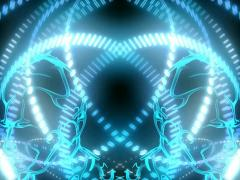 Gemini Orbit Blue Glow Statue Entrance Rotating Energy Sequence - stock footage