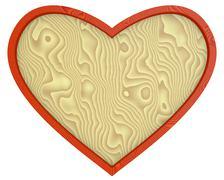 heart - wooden background - stock illustration