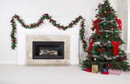 Stock Photo of gas insert fireplace in use during holidays