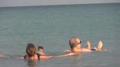 flaoting dead sea nature spa - stock footage