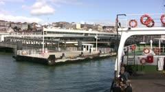 Ferry approaching Lisbon Stock Footage